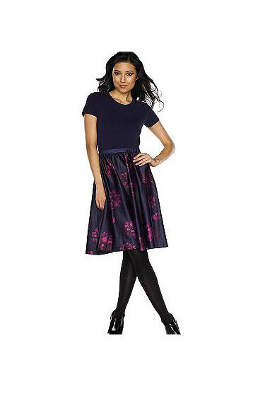 "<a href=""http://www.qvc.com/qic/qvcapp.aspx/view.2/app.detail/params.CM_SCID.dril.item.A98157.desc.ISAACMIZRAHILIVE-Mixed-Media-Knit-Print-Satin-Dress"">Mixed-Media Knit and Print Satin Dress</a>, $69."