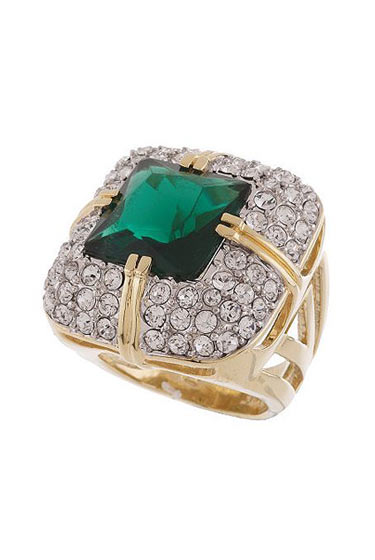 "<a href=""http://www.qvc.com/qic/qvcapp.aspx/view.2/app.detail/params.item.J143721.desc.Rachel-Zoe-Simulated-Emerald-Pave-Ring"">Simulated Emerald and Pavé Ring</a>, $74.50."
