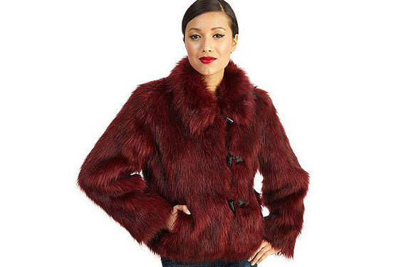 "<a href=""http://www.qvc.com/qic/qvcapp.aspx/view.2/app.detail/params.item.A94293.desc.Rachel-Zoe-Faux-Fur-Toggle-Coat-with-Wing-Collar""><em>Faux-</em>Fur Toggle Coat With Wing Collar</a>, $118.20."