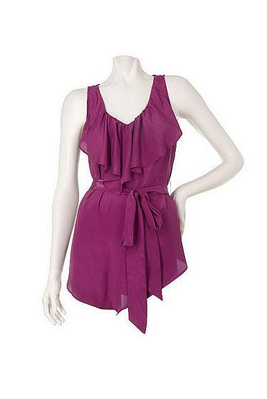 "<a href=""http://www.qvc.com/qic/qvcapp.aspx/view.2/app.detail/params.item.A87438.desc.BCBGeneration-Sleeveless-Ruffled-Vneck-Top-w-Removable-Belt"">Sleeveless Ruffled V-Neck Top With Removable Belt</a>, $45.28."