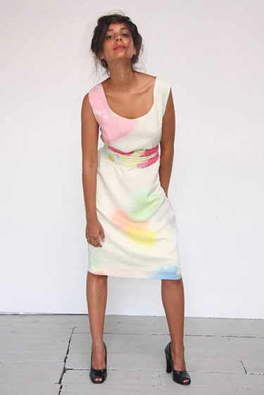 Hand-painted watercolor tank dress in ivory, $470.