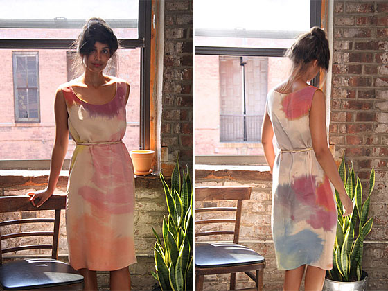 Hand-painted watercolor tank dress in nude, $470.