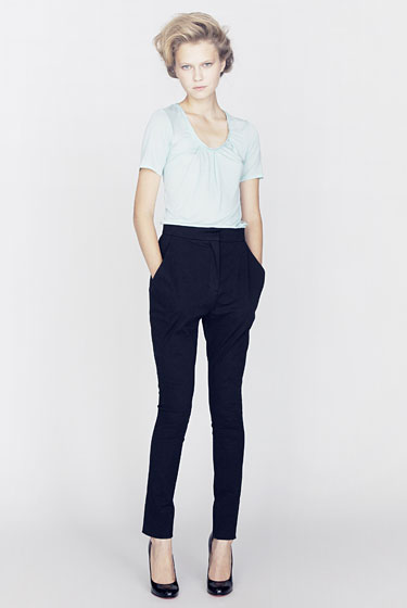 Soft jersey T-shirt with padding detail, $240; cigarette pant, $520.