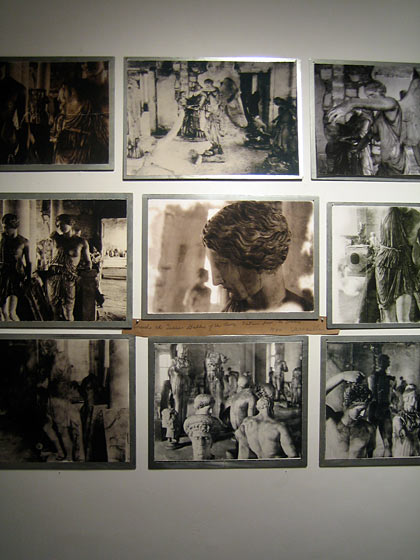 Up to the twelfth floor of Ralph Pucci, where the photographer Deborah Turbeville has an exquisite show of photos done for her book, <i>Unseen Versailles</i>. Here they are presented as photo collages mounted on steel plates. I especially love that she has handwritten her labels on brown paper torn to the right size.