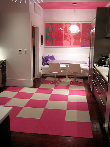 What child wouldn't like eating in a hot-pink kitchen?