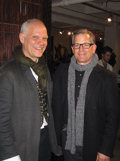 Tucker celebrated the opening with a great party where friends and wonderful designers and artists came to cheer. Here's Tucker, left, with Keith Recker, who has just founded <i>Hand/Eye</i> magazine.