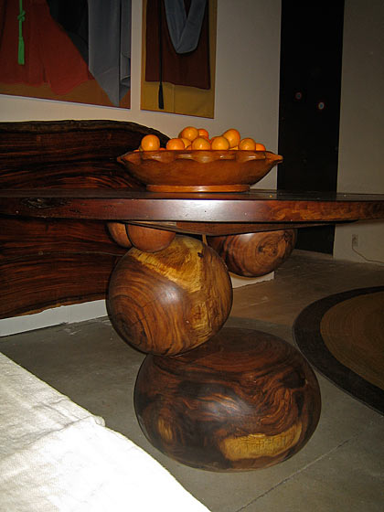 This fun, seemingly off-kilter table is one of Tucker's pieces; it looks unbalanced, but it's totally secure. Tucker adds a great new vibe to the Design Center. His website is tuckerrobbins.com.