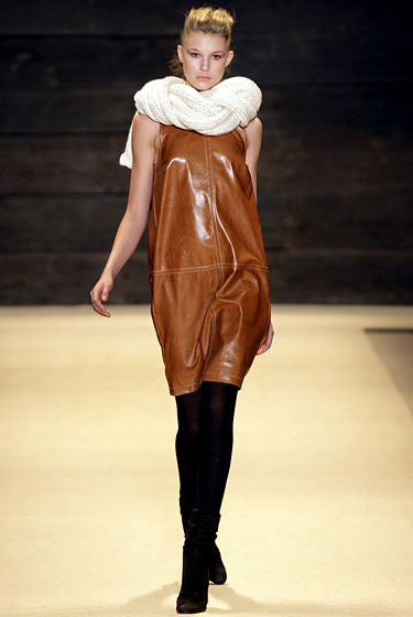 "A sleeveless brown shift dress at <a href=""http://nymag.com/fashion/fashionshows/2010/fall/main/newyork/womenrunway/adam/"">Adam</a>."