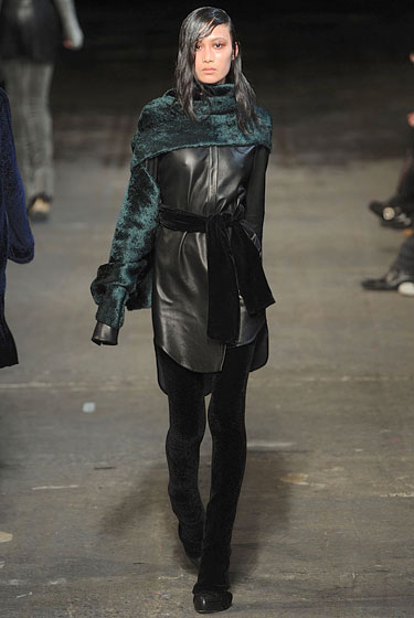 "<a href=""http://nymag.com/fashion/fashionshows/2010/fall/main/newyork/womenrunway/alexanderwang/"">Alexander Wang</a> created a shirtdress out of leather."