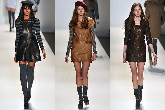 "<a href=""http://nymag.com/fashion/fashionshows/2010/fall/main/newyork/womenrunway/cynthiasteffe/"">Cynthia Steffe</a> played on the schoolgirl look with jumpers, short-sleeve dresses, and various neutral colors."