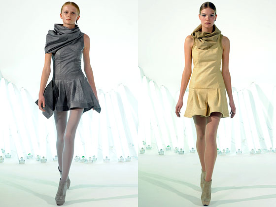 "Check out the color at <a href=""http://nymag.com/fashion/fashionshows/2010/fall/main/newyork/womenrunway/franktell/"">Frank Tell</a>: Muted grays and pale yellows softened up the leather look."