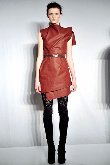 "<a href=""http://nymag.com/fashion/fashionshows/2010/fall/main/newyork/womenrunway/jeremylaing/"">Jeremy Laing</a> played with color with his belted apple dress."