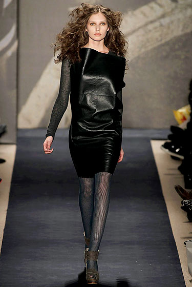 "<a href=""http://nymag.com/fashion/fashionshows/2010/fall/main/newyork/womenrunway/ports1961/"">Ports 1961</a> went for the layered look by adding a long-sleeve knit shirt underneath a black shift."
