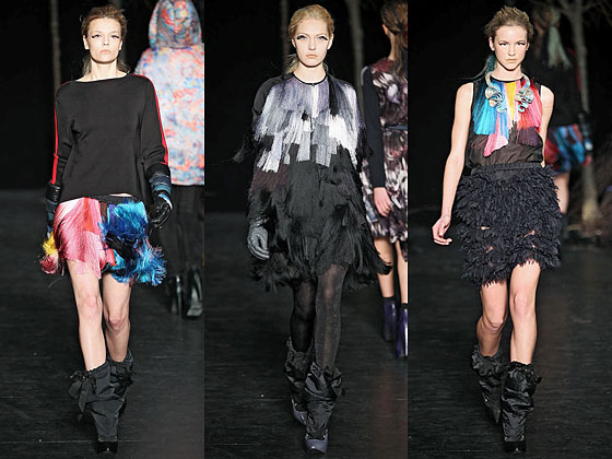 "<a href=""http://nymag.com/fashion/fashionshows/2010/fall/main/newyork/womenrunway/cynthiarowley/ "">Cynthia Rowley</a> played with color, accenting top, skirt, and dress with bright swags of trim."