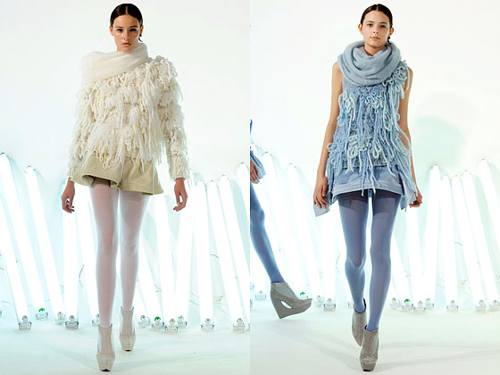 "<a href=""http://nymag.com/fashion/fashionshows/2010/fall/main/newyork/womenrunway/franktell/ "">Frank Tell</a> mixed yarns to create delicate knits."