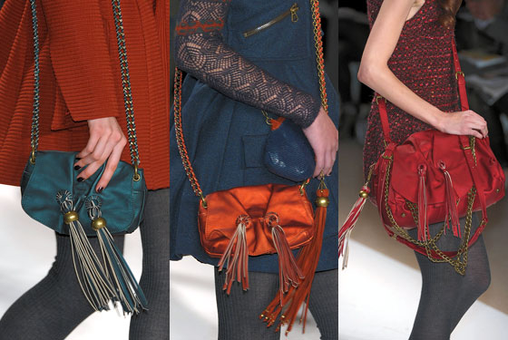 "<a href=""http://nymag.com/fashion/fashionshows/2010/fall/main/newyork/womenrunway/nanettelepore/ "">Nanette Lepore</a> featured colorful tassels on bags."