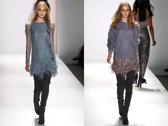 "<a href=""http://nymag.com/fashion/fashionshows/2010/fall/main/newyork/womenrunway/rebeccataylor/ "">Rebecca Taylor</a> softened her pieces with muted embellishments."