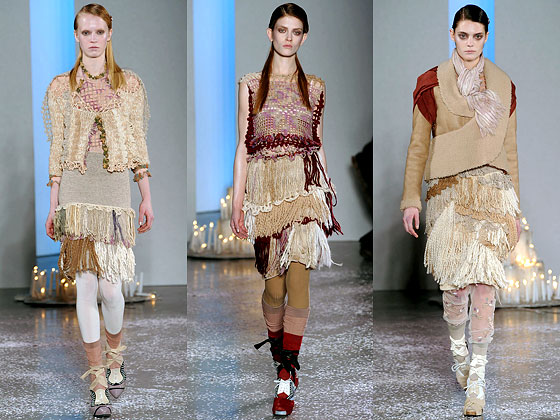 "<a href=""http://nymag.com/fashion/fashionshows/2010/fall/main/newyork/womenrunway/rodarte/ "">Rodarte</a> used yarn as fringe on skirts and dresses and shirts."