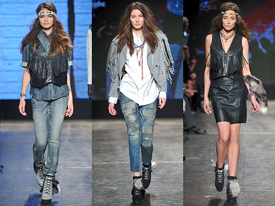 "The seventies came back at <a href=""http://nymag.com/fashion/fashionshows/2010/fall/main/newyork/womenrunway/williamrast/ "">William Rast</a> with these fringed leather looks."