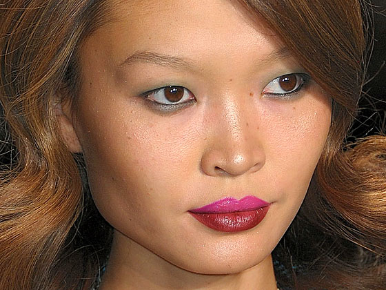 "M.A.C. makeup artist Makky created the dual-tone lips at <a href=""http://nymag.com/fashion/fashionshows/2010/fall/main/newyork/womenrunway/nanettelepore/"">Nanette Lepore</a>."