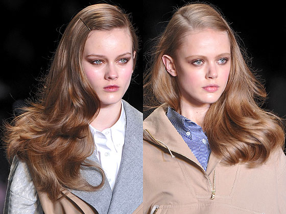 "Hair bounced at <a href=""http://nymag.com/fashion/fashionshows/2010/fall/main/newyork/womenrunway/tommyhilfiger/"">Tommy Hilfiger</a> with perfect blowouts and just the right amount of shine."
