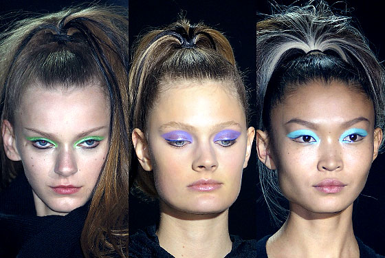 "<a href=""http://nymag.com/fashion/fashionshows/2010/fall/main/newyork/womenrunway/y3/"">Y-3</a> wasn't afraid to use color, brushing eyes in green, purple, and aqua hues."