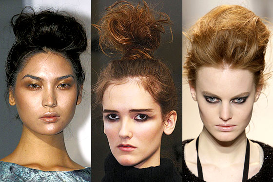 "Fall may turn into a No Comb Zone. Updos were messy and teased, like the ones here are <a href=""http://nymag.com/fashion/fashionshows/2010/fall/main/newyork/womenrunway/danielvosovic/"">Daniel Vosovic</a>, <a href=""http://nymag.com/fashion/fashionshows/2010/fall/main/newyork/womenrunway/catherinemalandrino/"">Malandrino</a>, and <a href=""http://nymag.com/fashion/fashionshows/2010/fall/main/newyork/womenrunway/lelarose/"">Lela Rose</a>. And the looks also reached new heights, as stylists piled locks right on top of heads for a striking look that still keeps it rough around the edges."