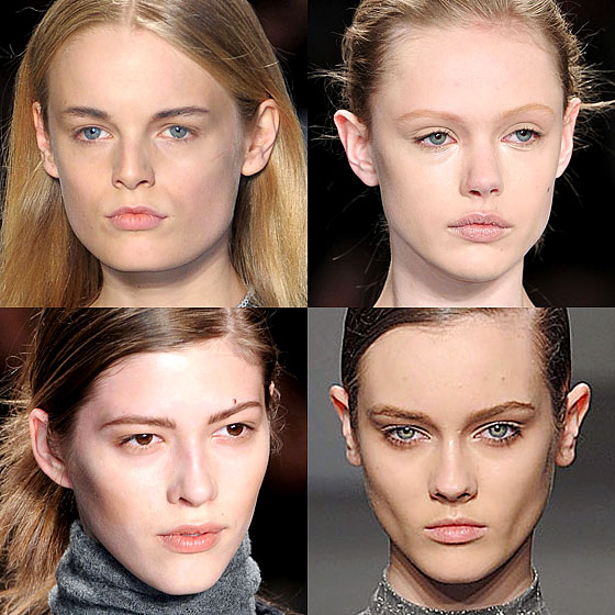 "The illusion of going makeupless turned up on fall runways as the biggest beauty trend. Clean, dewy skin is a key look. <a href=""http://nymag.com/fashion/fashionshows/2010/fall/main/newyork/womenrunway/narcisorodriguez/"">Narciso Rodriguez</a>, <a href=""http://nymag.com/fashion/fashionshows/2010/fall/main/newyork/womenrunway/bcbgmaxazria/"">BCBG Max Azria</a>, <a href=""http://nymag.com/fashion/fashionshows/2010/fall/main/newyork/womenrunway/yigalazrouel/"">Yigal Azrouël</a>, and <a href=""http://nymag.com/fashion/fashionshows/2010/fall/main/newyork/womenrunway/calvinklein/"">Calvin Klein</a> all kept their faces minimal and chic."