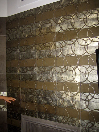 I went to the Artistic Tile showroom, where I had a full tour and realized that I know almost nothing about the state of tile today. This is their most high-end design; it has a striking, gorgeous metallic finish.
