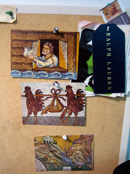 I went to the MadArts studios in Brooklyn to visit artist Carlton Scott Sturgill. He's been inspired by many things, including Venetian mosaics. Here are the postcards of it that he has pinned up in his studio. But what he does with the inspiration will blow your mind!