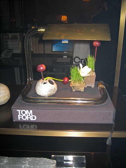 I was entranced by this display; at first I thought it was a little Chinese still life, but it's an installation Bill did based on Tom Ford's book (Tom is one of his clients).