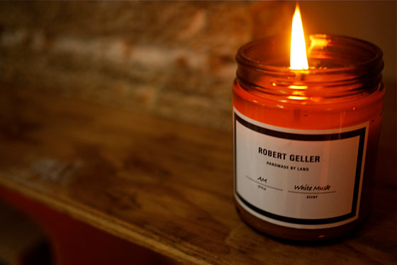Limited-edition Land for Robert Geller candle in white musk.