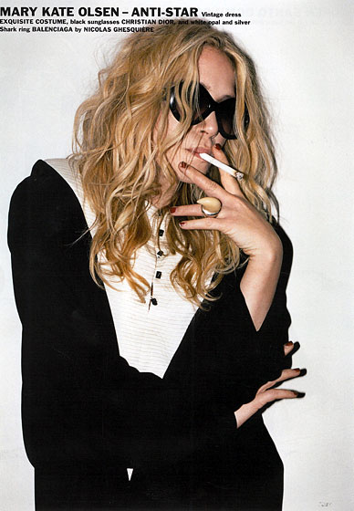"Mary-Kate ""Anti-Star"" Olsen chooses to provoke by smoking. If her hair were darker and shorter she wouldn't look unlike Olivier himself (minus the facial hair)."