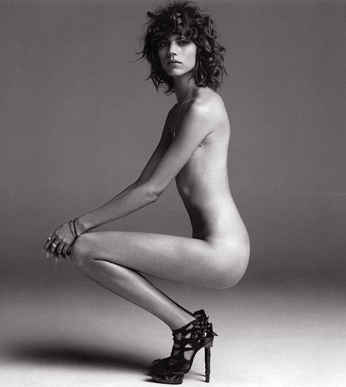 Freja Beha did a solo nude spread in spiky shoes. Her thighs must be stronger than they look to keep from gouging her bare rump in this position.