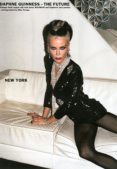 "In the introduction to this spread, Zahm explains, ""For this issue we decided to investigate the so called <em>Purple</em> Style by asking a number of extremely talented women from different fashion cities to wear clothes from the summer 2010 collections,"" and to help style themselves. Daphne Guinness was one, and true to her signature look, kept things pretty covered but slightly risqué."
