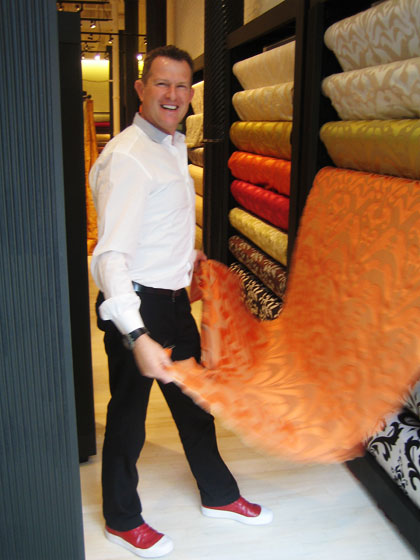 This is another story of reinvention. I met with Warren Kay, founder and designer of Silk Trading. Going forward, his new, exciting venture is a flagship store in New York called Silk Trading for Wolf Home (936 Broadway), where he will continue to offer his luxurious textiles and drapery, while also adding made-to-measure upholstery, furniture, and pillows. Here is Warren showing me some of his amazing fabrics.