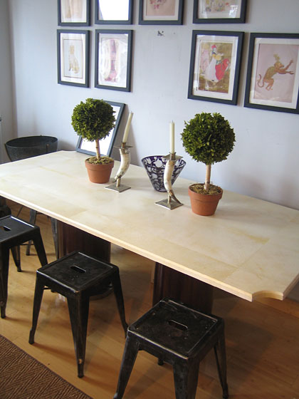 Georgia Tapert, owner of Georgia Tapert Living (456 Broome Street), and Caroline Cummings, her business partner, launched their first furniture line, named Carolina George, this year. This dining table with a parchment top and mahogany base is part of the new line.