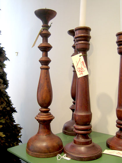 I collect wood candlesticks and convert them into lamps. These would be perfect.