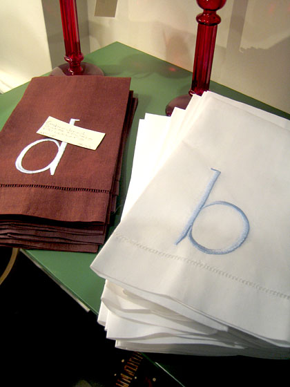 These monogrammed tea towels would make great housewarming or hostess gifts.