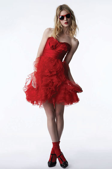 Two-Piece Ruffled Dress in Red - $79.99