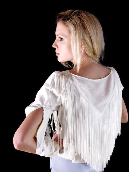 Hemp-linen shirt with fringe and elbow slits, $280.