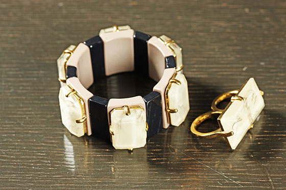 Faceted Stretch Bracelet, $98, and Faceted Double Finger Ring, $88.  