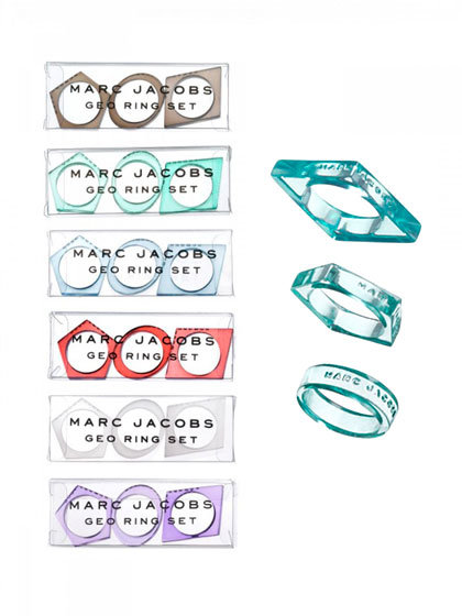 Geo ring sets, $11 each.