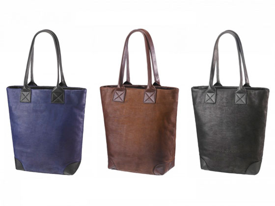 Cut leather totes, $200 each.