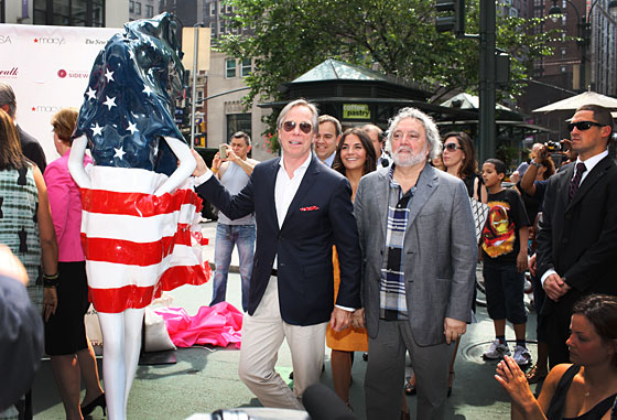 Tommy Hilfiger draped his mannequin in an American flag.