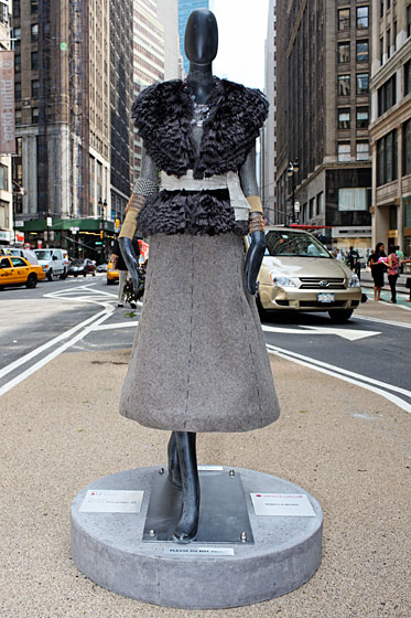 Rebecca Moses crafted a metal mesh top, synthetic fringe vest, and felt skirt for her mannequin.