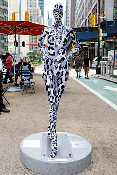 Diane Von Furstenberg skipped the clothes and just painted her mannequin with purple leopard spots.