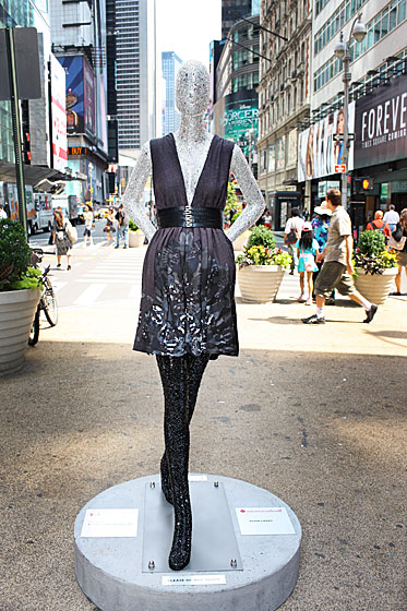 Adam Lippes covered his mannequin in rhinestones.