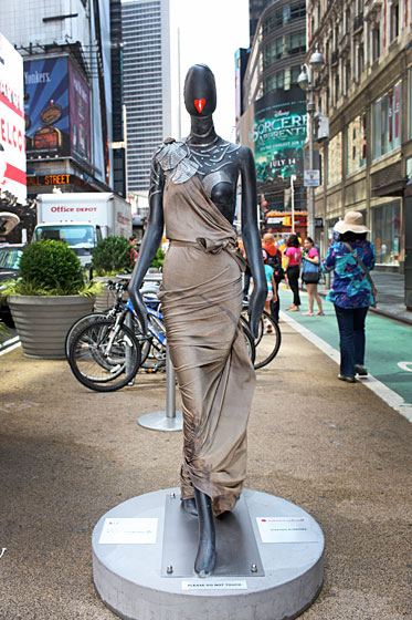Stephen Burrows painted his mannequin's lips into a heart and dressed her in a sidewalk-sweeping gown.