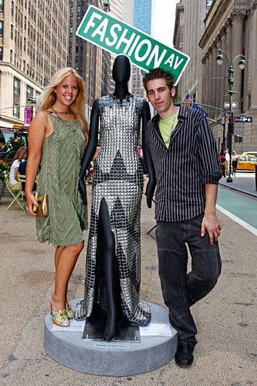 "FIT students Christopher Ciaccia and Ariel Penzer said building their mannequin's incredibly detailed dress was like ""tiling a wall."""